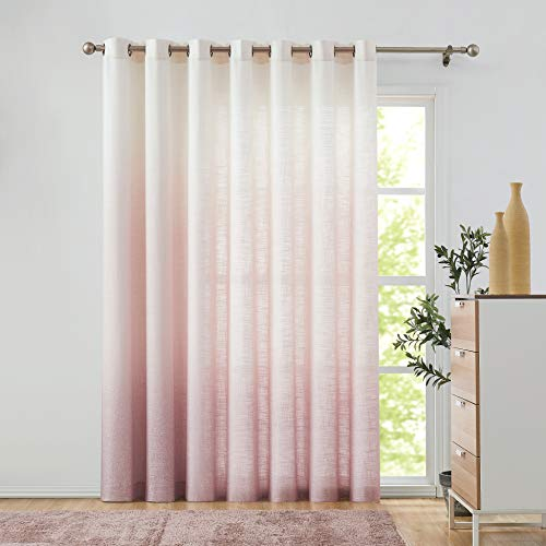 """Central Park Mauve Ombre Window Door Curtain 100"""" Extra Wide Linen Ombre Gradient Print on Rayon Blend Fabric Treatment for Sliding Patio Door with Grommets,Cream White to Pink,100"""" x 84"""", 1 Panel"""