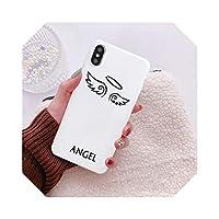 Spiooingかわいい悪魔の天使の電話ケースFor iPhone11 XS MAX XR X SE2021 7 86PlusピンクホワイトカップルバックカバーソフトTPUマットFunda-Style 1-For iphone 12