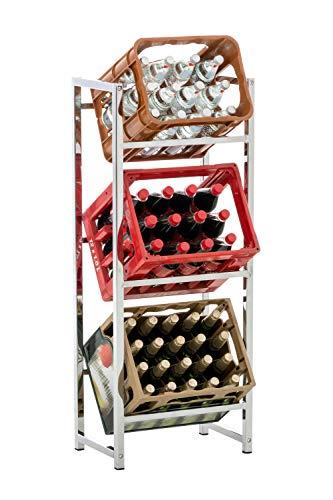 CLP Getränkekistenständer LENNERT I Platzsparender robuster Kistenständer für Getränkekisten I Verschiedene Ausführungen Chrom, M