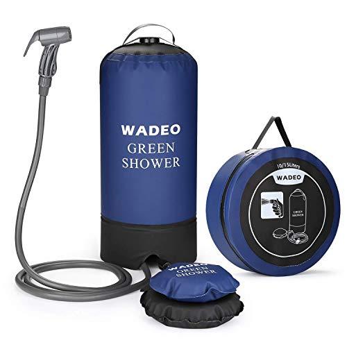 WADEO Ducha portátil de 11 l, para camping, ducha de presión, plegable, portátil, con bomba de pie, boquilla, bolsa de almacenamiento, para viajes, senderismo, escalada, verano