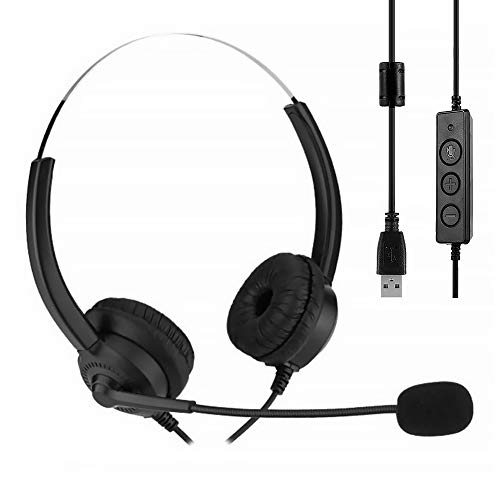 You's Auto Auriculares USB Estéreo Auriculares Inalámbricos Estéreo PC con Micrófono con Cancelación de Ruido y Controles de Audio para Centro de Llamadas Oficina Conferencias Chat en Línea