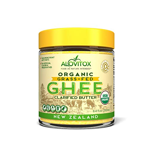 Alovitox Grass-Fed Ghee, Clarified Butter Fat from New Zealand | Certified Organic, Gluten-Free and Keto Friendly