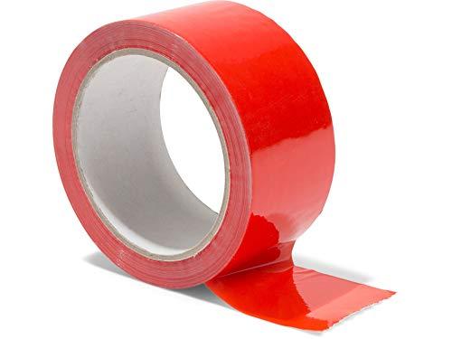 Modulor Verpackungsband, farbiges Klebeband aus Polypropylen, leise abrollendes Paketband mit Acrylatkleber, Breite 5 cm x Länge 66 m, 48 µm dick, rot