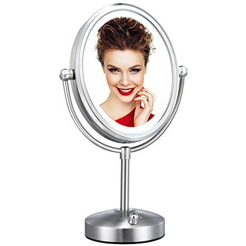 Professional 8'' Lighted Makeup Mirror, VESAUR Oval 5X Magnifying LED Vanity Mirror with 28 Dimmable SMDs (High up to 1100lux), Pearl Nickel Cosmetic Mirror, Desk Lamp Night Light Alternative, 2 Sided
