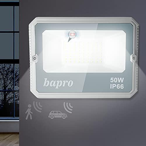 50W Focos LED Exterior con Sensor de Movimiento, 5000LM Proyector LED Exterior con Radar Detector, IP66 Impermeable Reflector LED 6000K Blanco Frío Iluminacion para Jardin Garaje Entrada