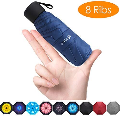 Fidus Upgraded 8 Ribs Mini Portable Sun&Rain Lightweight Windproof Umbrella - Compact Parasol Outdoor Travel Umbrella for Men Women Kids-Navy