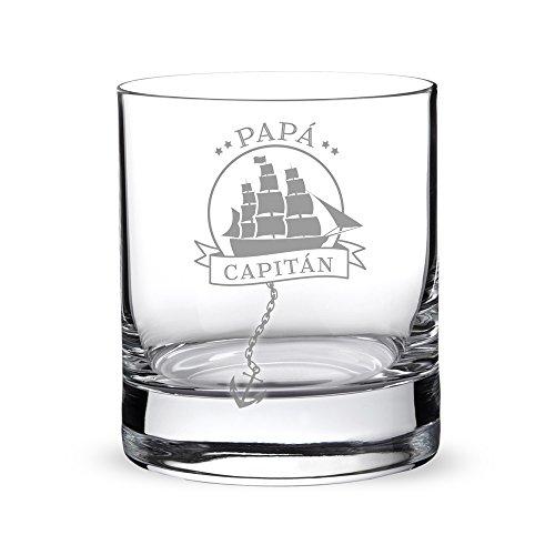 AMAVEL Vaso de Whisky, para Papá Capitán, con Barco Velero Grabado, Decoración Marinera, Capacidad 320 ml