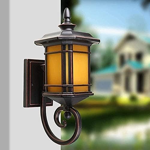 LLLKKK Farol de pared de cristal, estilo vintage, Continental de pared, puerta de jardín, valla exterior, resistente al agua, IP54, lámpara de pared, estilo americano, aluminio E27