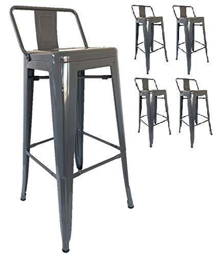 Kosmi – Set di 4 sgabelli da bar in metallo grigio con piccolo schienale, sedie da bar, sgabelli in metallo, altezza 76 cm, perfetti per un manzo in piedi o un tavolo alto