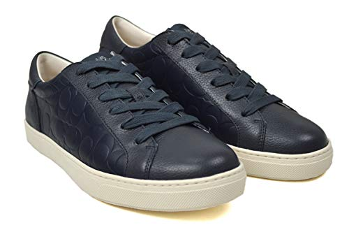 COACH NEW YORK Men's C126 Genuine Leather Low Top Casual Sneakers Navy Blue (US 9.5 D)