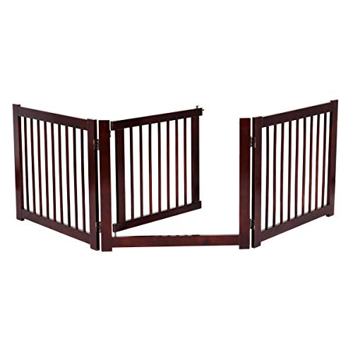 COSTWAY Barrera de Puerta de Seguridad Rejilla para Perros Mascotas Puerta Escalera Protección Plegable de Madera (206 x 61 x 1,8cm)
