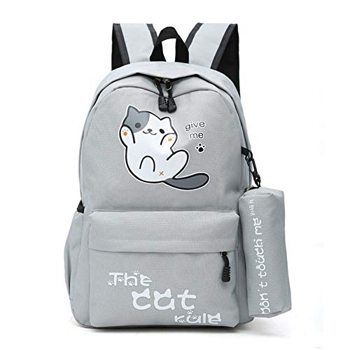 Laptop Backpack Students Girls School Bag Campus Style Cute Cat Boy Backpack Schoolbag Nylon Backpack Cartoon Bagpack Backpack (Color : Hot Pink)