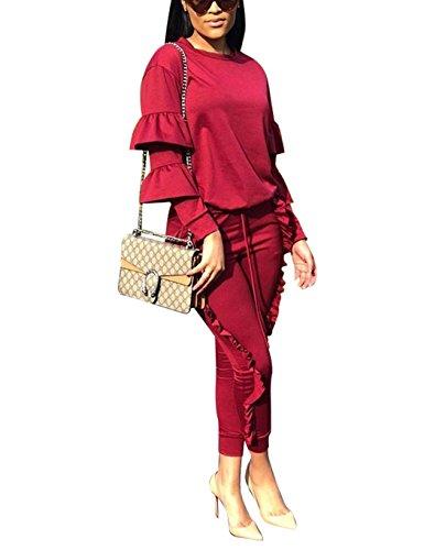 2-teiliges Damen-Outfit-Set mit Puffärmeln und langen Volanthosen, Jogginganzüge, Weinrot, XXX-Large