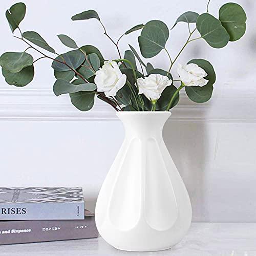 DoubleCare Vaso per Fiori Moderno Vasi in Plastica Dall'Aspetto Ceramico Infrangibile Decorativi Interno Vaso per Piante Decorazioni per la Cucina, Soggiorno, Tavolo, Casa, Ufficio (DBianco)
