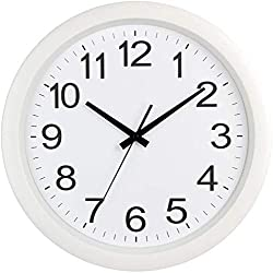 KJAEDL Round Analogue Clocks, Silent & Non-Ticking Wall Clock, Plastic Frame Glass Cover - Arabic Numeral Wall Clock for Kitchen (Color : White)