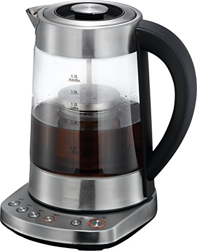 KHAPP 15130003 2in1 Glas- Tee- Wasserkocher, Warmhaltefunktion, Edelstahl-Teefilter, elektrische Temperatureinstellung, Signalton bei Erreichen der vorgewählten Temperatur