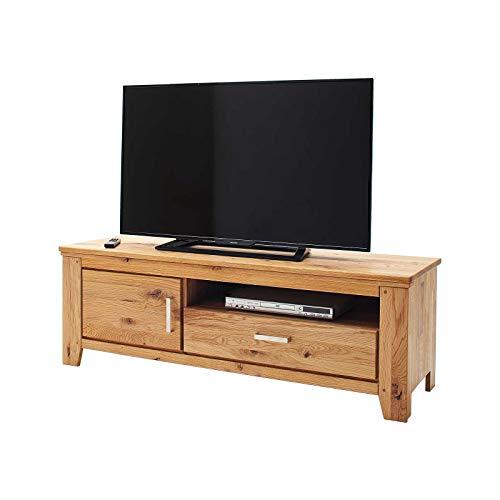 MÖBEL IDEAL Lowboard Wildeiche Massivholz TV Anrichte Eiche Massiv H 50 x B 150 x T45 cm Natur geölt