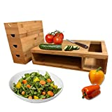 Bamboo Cutting Board With Trays Chopping Board and Drawers Kitchen Chopping Board for Meat Cheese and Vegetables Heavy Duty Serving Tray