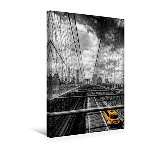 Premium - Lienzo de tela (30 x 45 cm, imagen sobre bastidor, imagen sobre lienzo auténtico, diseño del puente de Brooklyn con taxi (CALVENDO Orte);CALVENDO Orte