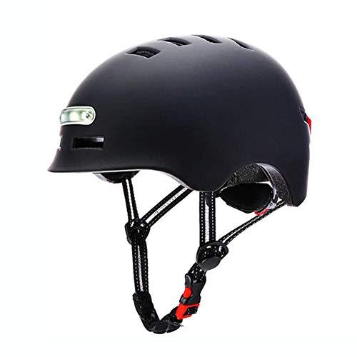 MLSice Casco clásico para Ciclista/Skate/Skateboarding/Multi-Sport con Luces Delanteras y traseras para el Casco Safty Urban Commuter de tamaño Ajustable - L