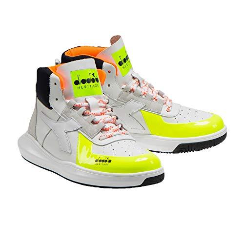 Diadora - Heritage Scarpa Sneaker Unisex MI BASKET H LOW MDS FLUO Bianco - 44