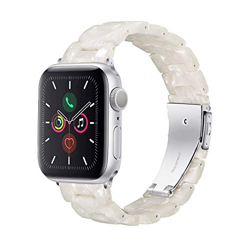 Wongeto Compatible with Apple Watch Band 38mm 40mm Womens for iWatch SE Resin Wristbands with Stainless Steel Metal Buckle Replacement Dressy Bracelet Strap Series 6 5 4 3 2 1 (Pearl White, 38/40mm)