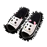 KHUY Zapatillas Casa Mujer, Pantuflas Hombre Animales Sandalias de Mudo de Dibujos Animados para Niños, Zapatillas de Limpieza Lindas, Desmontables y Lavables (Color : Black EUR 38-40)