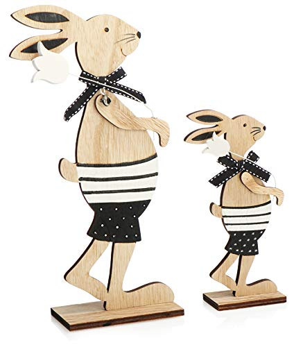 com-four® 2X Deko Aufsteller für Ostern - Großer und Kleiner Osterhase mit Blume - Osterdeko zum Hinstellen - Osterdekoration aus Holz (Set02 - Hasen mit Blume)