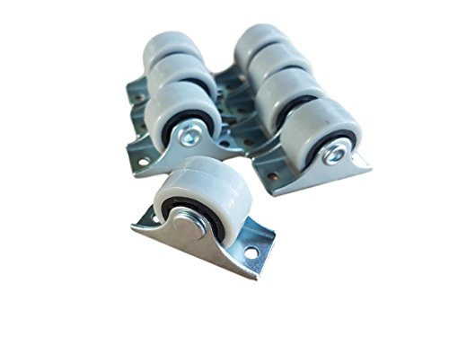 (Packung mit 8 Stück) Mini-Lenkrollen im Set, schwenkbar, 25-mm-Kunststoff-Gummirollen mit Metallplatte, für Möbel und Ausrüstung, 8 Stück
