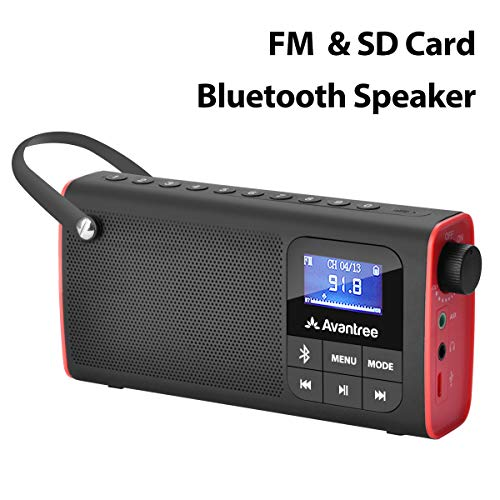 Avantree Portable FM Radio with Bluetooth Speaker and SD Card Player 3-In-1, MP3 Player with Headphones Socket, Auto Scan Save, LED Display, Rechargeable Battery Transistor Radio (No Am) - SP850