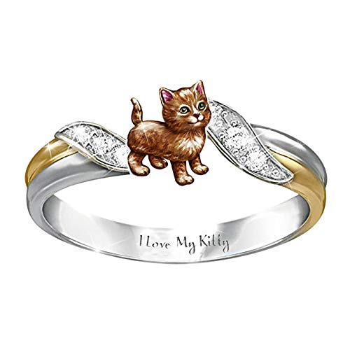 Elephant Ring Mother's Day Jewelry Animal Rings Bands for Women Fabro Wedding Band Party Makeup Accessories (Gold Kitten, Diameter 18.1mm)