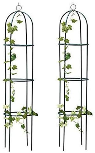 PJF 2x Large 2M Black Metal Garden Obelisk Heavy Duty Strong Tubular Plant Cage For Roses Climbing Plants Support Structure