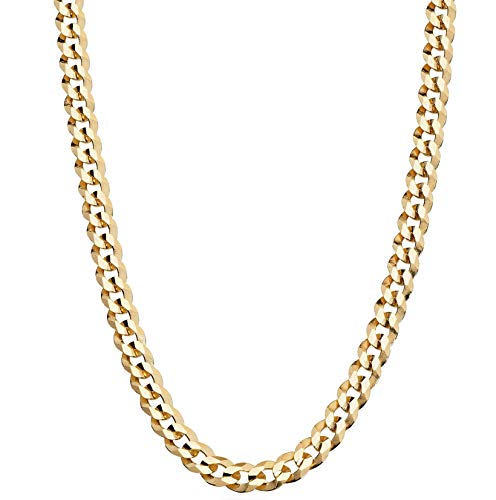 MiaBella Solid 18K Gold Over Sterling Silver Italian 5mm Diamond-Cut Cuban Link Curb Chain Necklace for Women Men, 16, 18, 20, 22, 24, 26, 30 Inch 925 Sterling Silver Made in Italy (18 Inches)