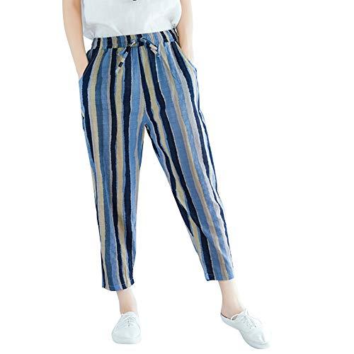 Dames zomer comfort oversized broek Harem stijl Litterary - blauw - XXL