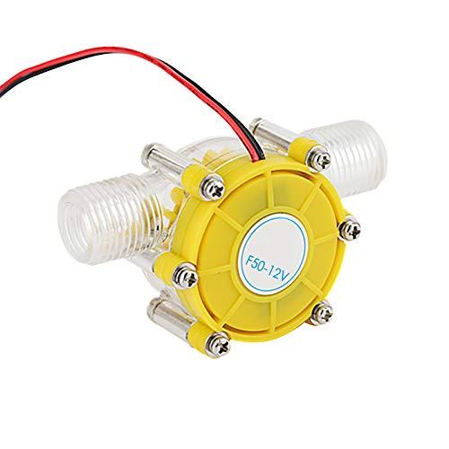 12V Micro-Hydro Water Turbine Generator Neodymium Magnet Ultra-Low Water Pressure Start Water Hydroelectric DIY Power (Yellow)