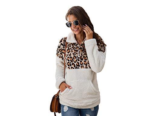 BEANLEFFEN Fleece PulloverHoodiesforWomen Womens Fashion HalfZip Sherpa Sweatshirts CozyFuzzy Jackets (Leopard Print-1, XXX-Large)