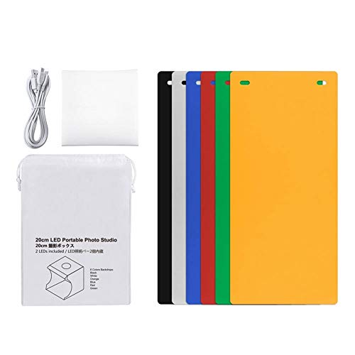 Mugast Photo Studio Light Box, Kit de Carpa Plegable portátil Mini Studio Photo Shooting con 20 Piezas de luz LED + 6 Fondos de Color para Productos pequeños