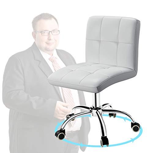 360 ° Büro-Schreibtischstuhl, PU verstellbarer Computer-Drehstuhl mit Rückenlehne für Büro, Zuhause, Computer, 360 ° drehbar, Friseur, armlos, Leder