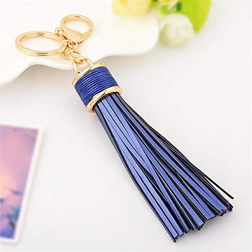 Keychains Pu Leather Tassels Key Ring Key Chain Leather Car Key Chains Holder Auto Keychains Jewelry Charms Keyring Couple Bag Blue