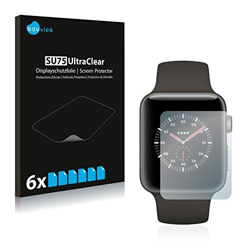 Savvies 6X Schutzfolie kompatibel mit Apple Watch Edition Series 3 (38 mm) Bildschirmschutz-Folie Ultra-transparent