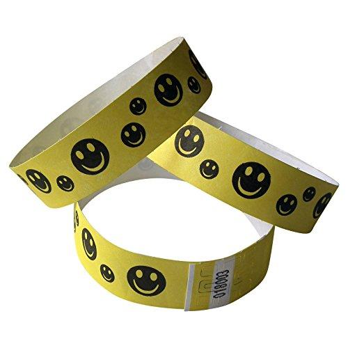 100 Stück Tyvek-Kontrollbänder bedruckt mit Happy Faces schwarz, rot oder gelb (gelb)