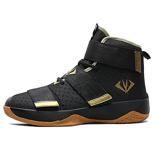 WELRUNG Unisex's Velcro Ankle Support Breathable Basketball Shoes Running Sports Outdoor Non-Slip Students Sneakers Gold 7/6 US