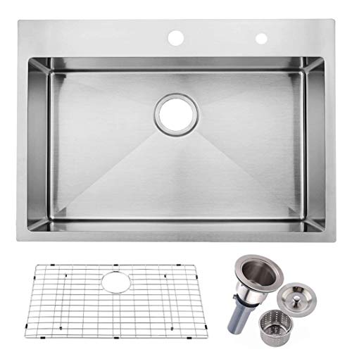 Friho 30'x 22' Inch 18 Gauge Commercial Topmount Drop-in Single Bowl Basin Handmade SUS304 Stainless Steel Kitchen Sink, Brushed Nickel Kitchen Sinks with Dish Grid and Basket Strainer
