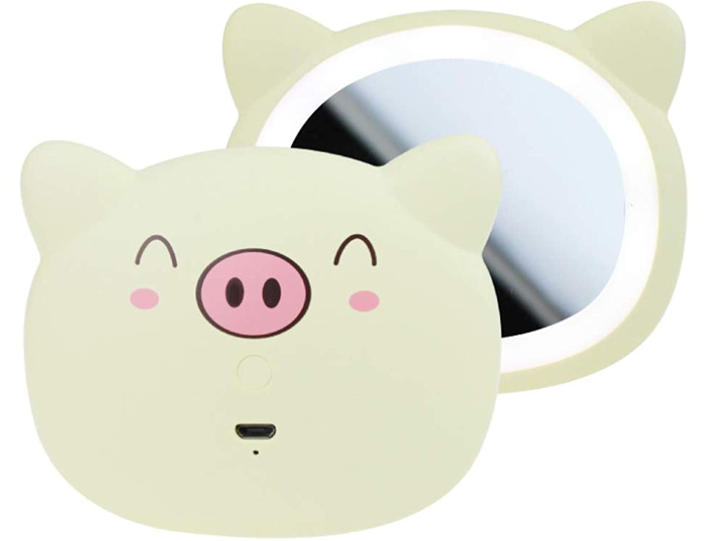 カップル適切に貫通IvyOnly MINIミラー ?化粧鏡 手鏡 LEDライト付き 外出 旅行用 可愛い豚 USB (レモン)
