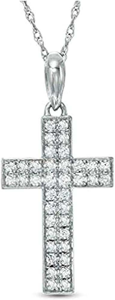 0.20 New life Cttw Diamond Cross Pendant Necklace A surprise price is realized In Gold White 10K