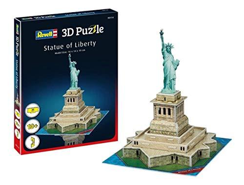 Revell 3D Puzzle 114 Freiheitsstatue von Liberty Island im Hafen von New York, das Symbol für Freiheit und die USA Zubehör, Farbig