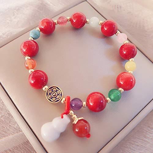 PPuujia Pulsera de cuentas de piedra natural para mujer, cuerda elástica de jade, colgante de calabaza, pulsera de energía curativa, joyería femenina (color de la gema: cuentas de cornala)