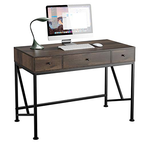 """HOMECHO Computer Desk with Drawers, 42"""" Home Office Rustic Writing Desk, Modern Simple Style Laptop Study Table Computer Workstation, Makeup Vanity Console Table, Dark Brown"""