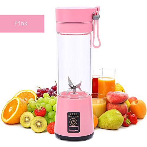 HYwot Youke persönlicher tragbarer Mixer, elektrischer Fruchtmischer mit 6 USB-Klingen, wiederaufladbar für Zuhause, Büro, Sport, Reisen, Draußen, perfekt für Obst, Gemüse, Milchshake,Pink