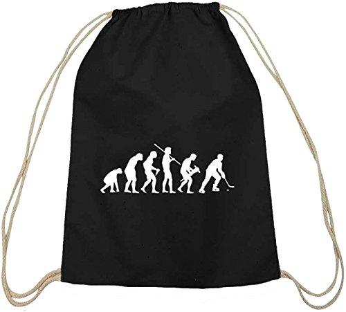 Shirtstreet24, EVOLUTION EISHOCKEY, Baumwoll natur Turnbeutel Rucksack Sport Beutel, Größe: onesize,schwarz natur